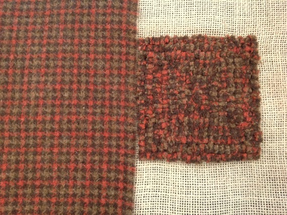 Fat 1/4 yard, Brown and Orange Check, Wool Fabric for Rug Hooking and Applique,  W129, Brown and Orange Check, Autumn Colors