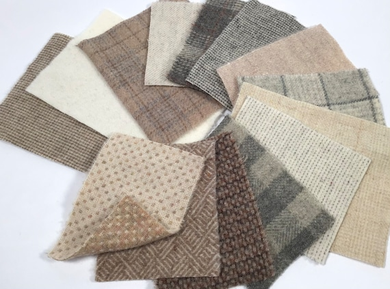 Neutrals Wool Scrap Pack for Applique, 14 pieces, textures, plaids, checks, stripes,  W492