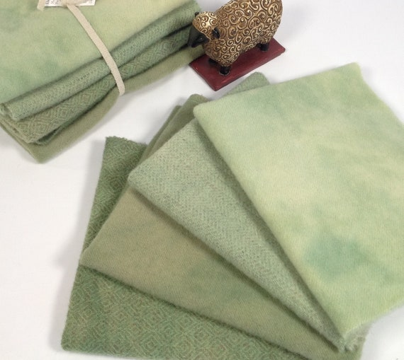 4) Fat Eighths, Spring Greens, Hand Dyed for Rug Hooking and Applique, W447, Soft Country Green, Mottled Summer Greens