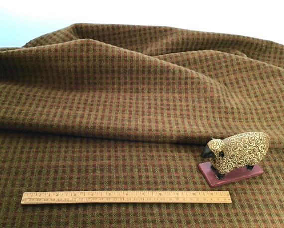Joshua Tree, a mill dyed wool fabric for Rug Hooking and Appliqué, W591, rust and olive checked wool fabric