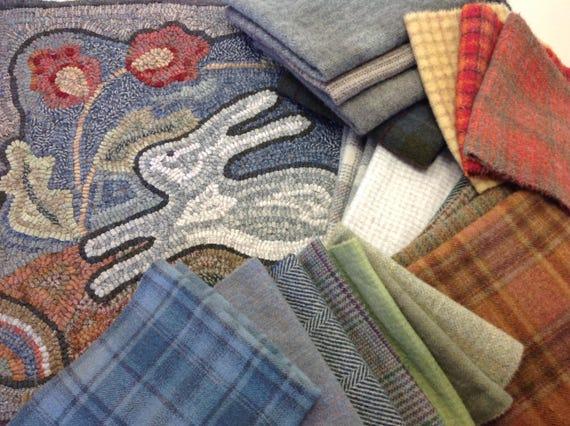 "Rug Hooking KIT, Spring Delight, 18"" x 24"", J818,  DIY Rug Hooking Kit, Pattern and Wool, Folk Art Bunny, Rabbit Rug"