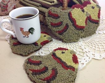 Rug Hooking PATTERN, Chicken Mug Rugs, P104,  DIY primitive rug hooking