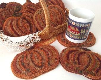 Rug Hooking Pattern, Pumpkin Mug Rugs, P154, DIY Primitive Rug Hooked Pumpkin Coaster