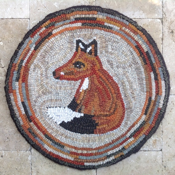 "Rug Hooking PATTERN, Woodland Fox Chair Pad or Table Mat, 14"" Round, J759, Fox, Woodland Animals, Forest Animals"