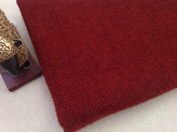 Garnet Red Herringbone, Wool Fabric for Rug Hooking and Applique, Select-a-Size, J902, Mill Dyed Wool Fabric, Christmas Red, Valentine Red