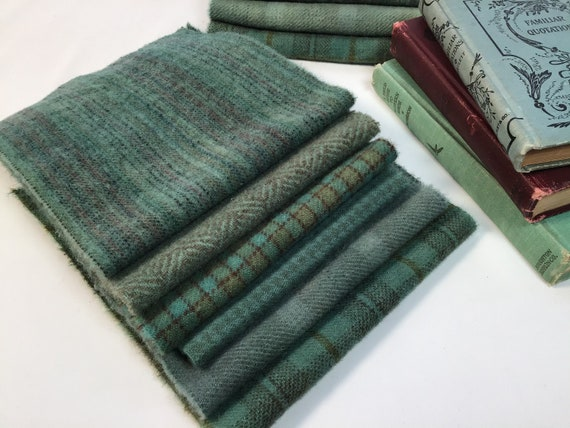 Weathered Copper bundle, 6) Fat 1/16ths, hand dyed wool fabric for Rug Hooking and Applique,  W624, Blue Green, Teal Green