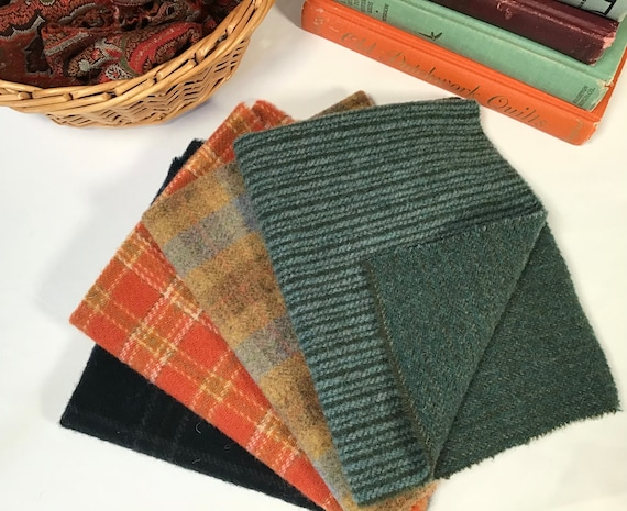 October Days Bundle, 4) Fat Eighths, mill dyed wool for rug hooking and applique, W536, Fall Colors, OOAK, one-of-a-kind