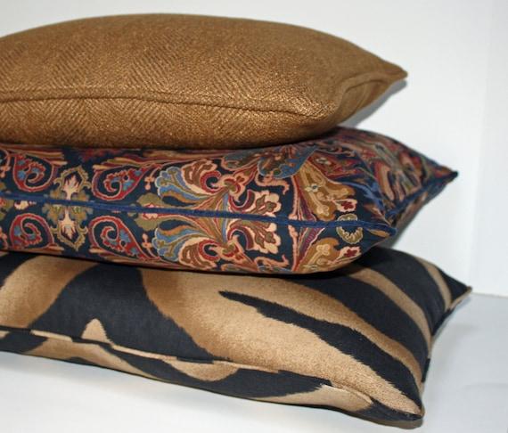 Ralph Lauren Pillow Chappell Zebra Tan Decorative Pillow Etsy Classy Black And Tan Decorative Pillows