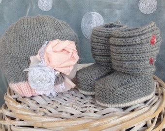Baby hat and boot set gray handknit