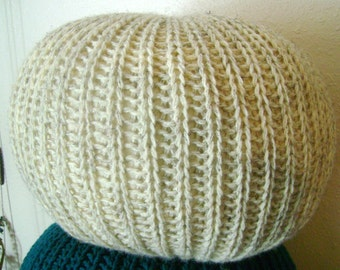 SALE!!! Knitted Pouf Pillow Large Oatmeal