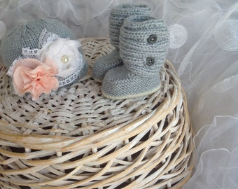 Baby hat and ugg boot set shabby chic light gray