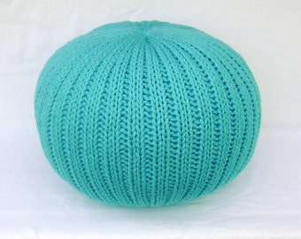 SALE!!! Knitted Pillow Pouf Ottoman Turquoise