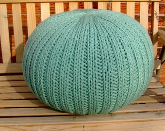 SALE!!! Knitted Pillow pouf ottoman light teal