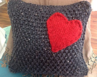 Heart pillow knitted valentine