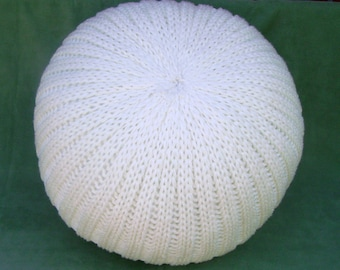 SALE!!! Knitted pouf pillow ottoman white
