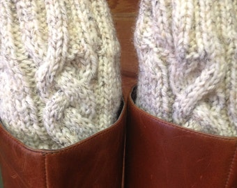 Boot cuffs hand Knitted cable oatmeal