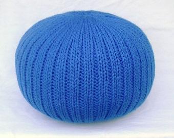 SALE!!! Blue Knitted Pillow Pouf Ottoman