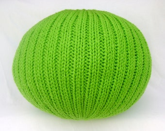 SALE!! Knitted Pillow Pouf Ottoman Spring Green