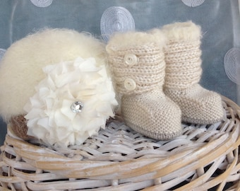 Baby hat and boots shabby chic cream