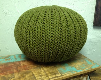 SALE!!! Knitted pillow pouf ottoman olive green