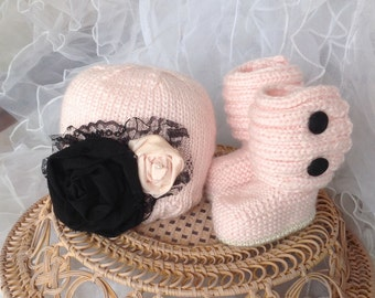 Baby hat and ugg boot set hand knit pink and black