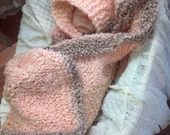 Baby blanket hand knit peach brown light coral