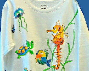 Seahorse Jellyfish and Other Sealife Sweatshirt