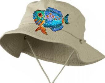 b25f00276f0a61 Big Size Bucket Hat w Chin Cord Handpainted to Order
