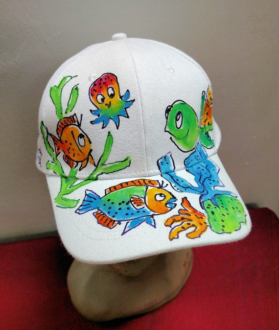 62c22b0ac55 Turtle with Baby Octopus Baseball Cap Handpainted for Adults
