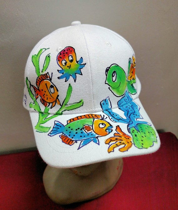 Turtle with Baby Octopus Baseball Cap Handpainted for Adults  13ff85a10c3