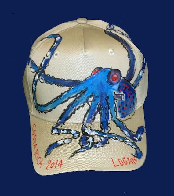 Blue Octopus Baseball Cap Handpainted for Adults and Kids  127e486b66e