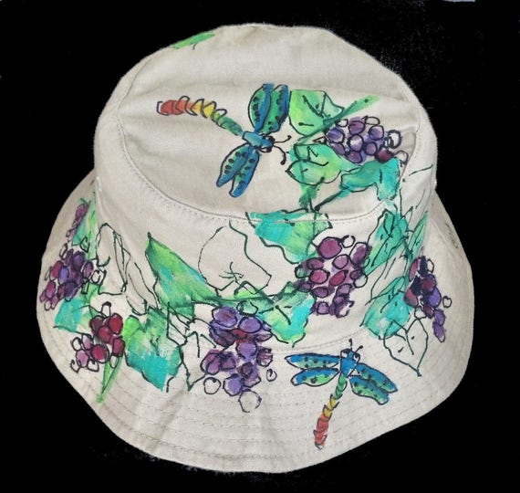 38c6cd9a4e8 Purple Grapes   Grapevine with Dragonflies Handpainted Bucket Hat