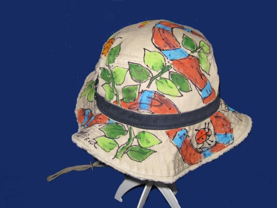 9057fc9a4f1 Jungle Snake Frayed-Edge Bucket Hat w. Chin Strap Hand painted
