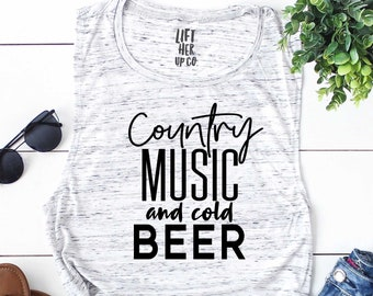 Country Music and Cold Beer. Country Concert Tank. Country Music. Womens Muscle Tank. Womens workout clothes .