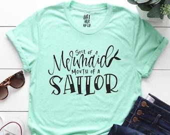 f2fa00569 Soul of a Mermaid mouth of a Sailor Shirt Boyfriend Style Tee Unisex Tee  XS- 3XL Cute Shirt Summer Tee . Mermaid Shirt . Mermaid Lover .
