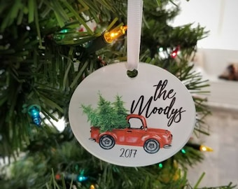 Red truck with tree Personalized family ornament . Personalized Christmas ornament . Vintage truck  .  Custom Christmas Ornaments .