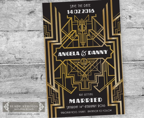 great gatsby 1920s art deco save the date card printable art
