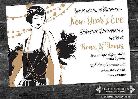 1920s Great Gatsby Flapper New Year's Eve Party Invite