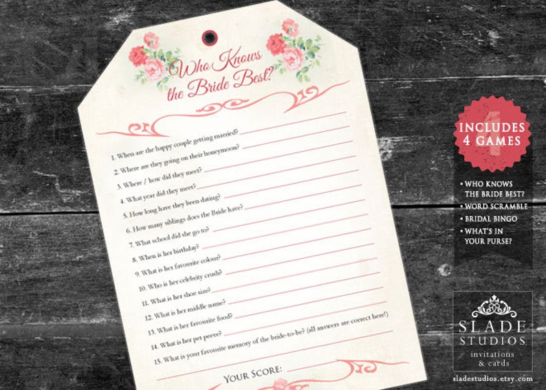 Download today 4 Tea bag shaped Bridal Tea Games with swing tag printable Australian  UK version. Pink Floral Bridal Shower Games Set