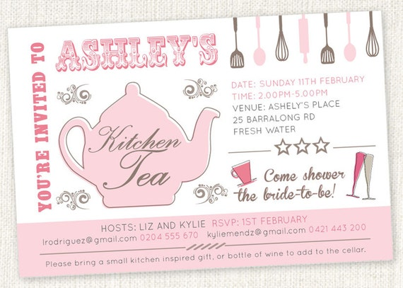 Kitchen tea teapot shower invitations bridal tea etsy image 0 filmwisefo