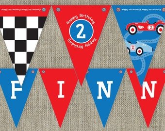 Vintage Race Car Party Bunting Flags Kid's party decorations. Printable. DIY print at home.