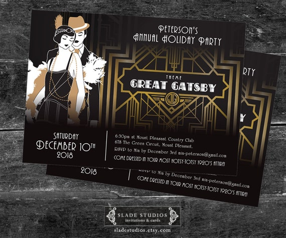 great gatsby holiday party christmas party invitations movie etsy