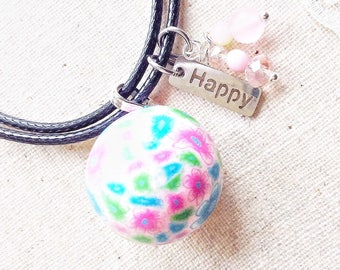 Bola necklace, pregnancy harmony ball angel caller necklace, long pink and blue floral chime ball necklace, chiming ball gift for mom to be