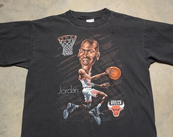 0b5a00e9 vintage 90s Jordan t-shirt Salem caricature cartoon tee shirt 1990 Chicago  Bulls 100% cotton Michael Jordan L large