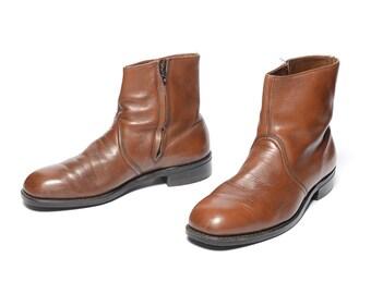 mens vintage boots 60s Chelsea boots ankle boots dress boots 1960 menswear medium brown leather boot Talon zipper men size 8 8D