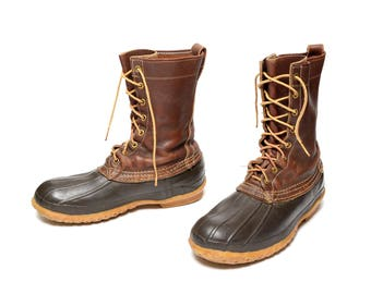 3ff17c52bc39 vintage 60s L.L. Bean boots Maine hunting shoes duck boots 1960 rain snow  boots men size 7 preppy trad New England 8 hole boots 10