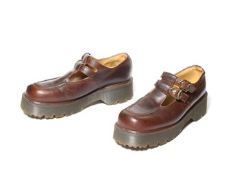 fe0a0a87cda2c0 vintage 90s Dr. Martens brown leather double monk strap shoe grunge  platform creeper Doc Martens low boot monkstrap buckle 8305 UK 7