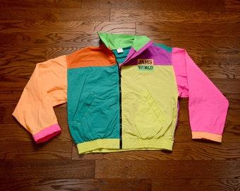 706c7e3bac6 vintage 80s 90s JAMS World jacket neon color block windbreaker 1980 1990  100% nylon surf skate rave Honolulu L XL oversize