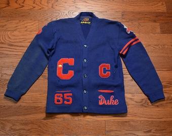 3d45bf2478 vintage 60s varsity sweater 1965 letter cardigan preppy punk rock  distressed sweater college school sweater C captain football M medium