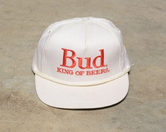 1fdc05921145c vintage beer hat 80s 90s Budweiser King of Beers Bud white mesh trucker  rope trim snapback cap 1980 1990 Stylemaster official product USA